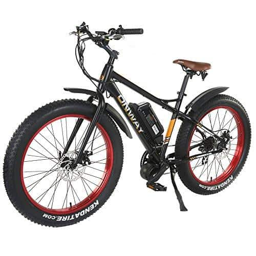 "ONWAY 26"" Snow & Beach 7 Speed Fat Tire Electric Bicycle"