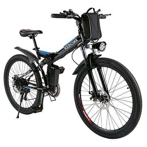 ANCHEER Folding Electric Mountain Bike with Large Capacity Lithium-Ion Battery, Premium Full Suspension and Shimano Gear