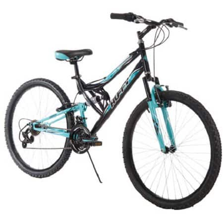 Huffy 26 Inch Women's Trail Runner Mountain Bike with Dual Suspension Frame and Suspension Fork