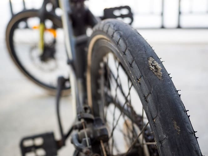 Bike Tyre Worn Down Thread